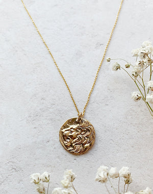 Modern Heirloom: Leo - Bronze Lion Courage Pendant on Gold Fill Chain