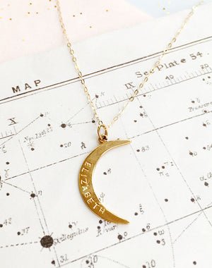 Lucent Personalised Gold Filled or Sterling Silver Crescent Necklace