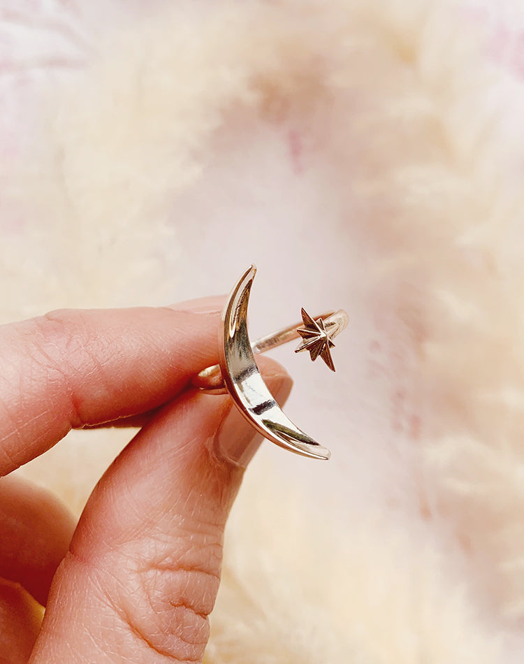 Lumi Sterling Silver Adjustable Moon & Star Ring