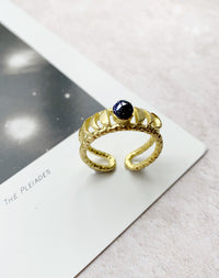 Lune Blue Goldstone Moon Phase Ring