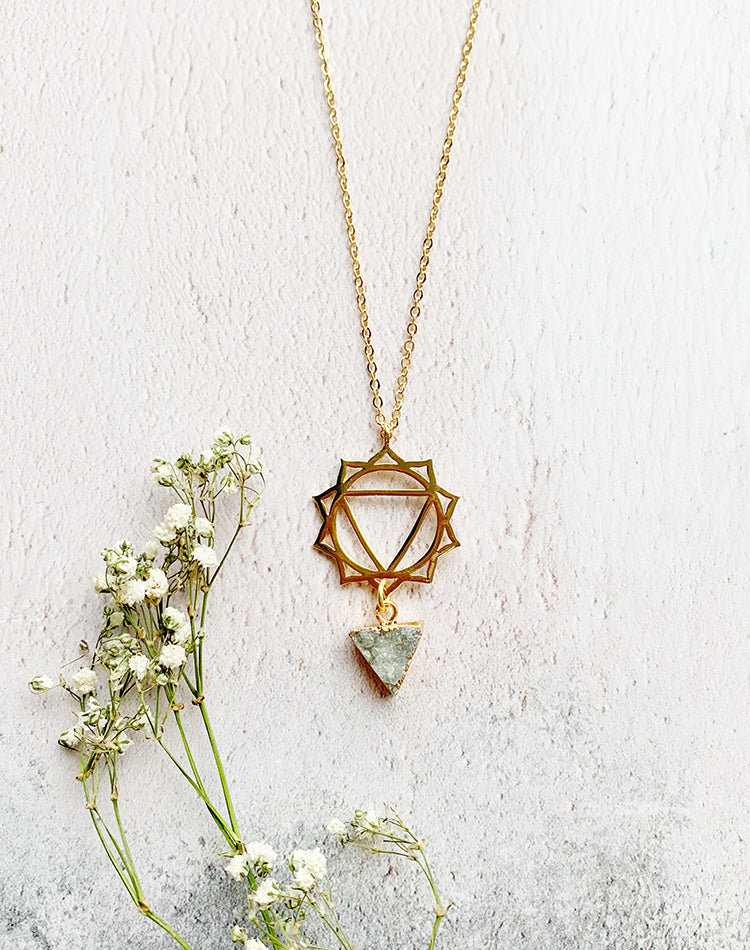 Mandala Druzy Triangle Necklace