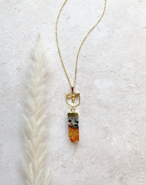 Mellona - Bee & Citrine Gemstone Necklace
