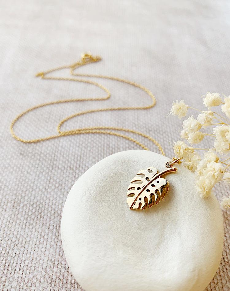 Modern Heirloom: Monstera - Bronze Monstera Leaf Pendant on Gold Fill Chain