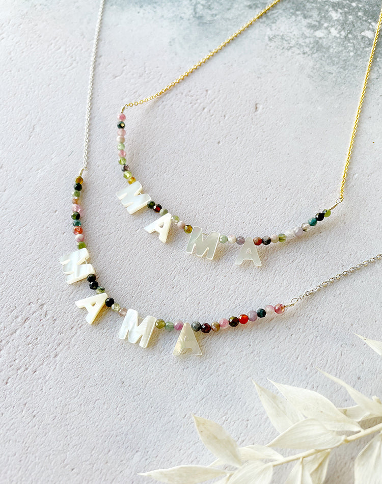 Calin: Personalised Mother of Pearl Letter & Rainbow Tourmaline Necklace