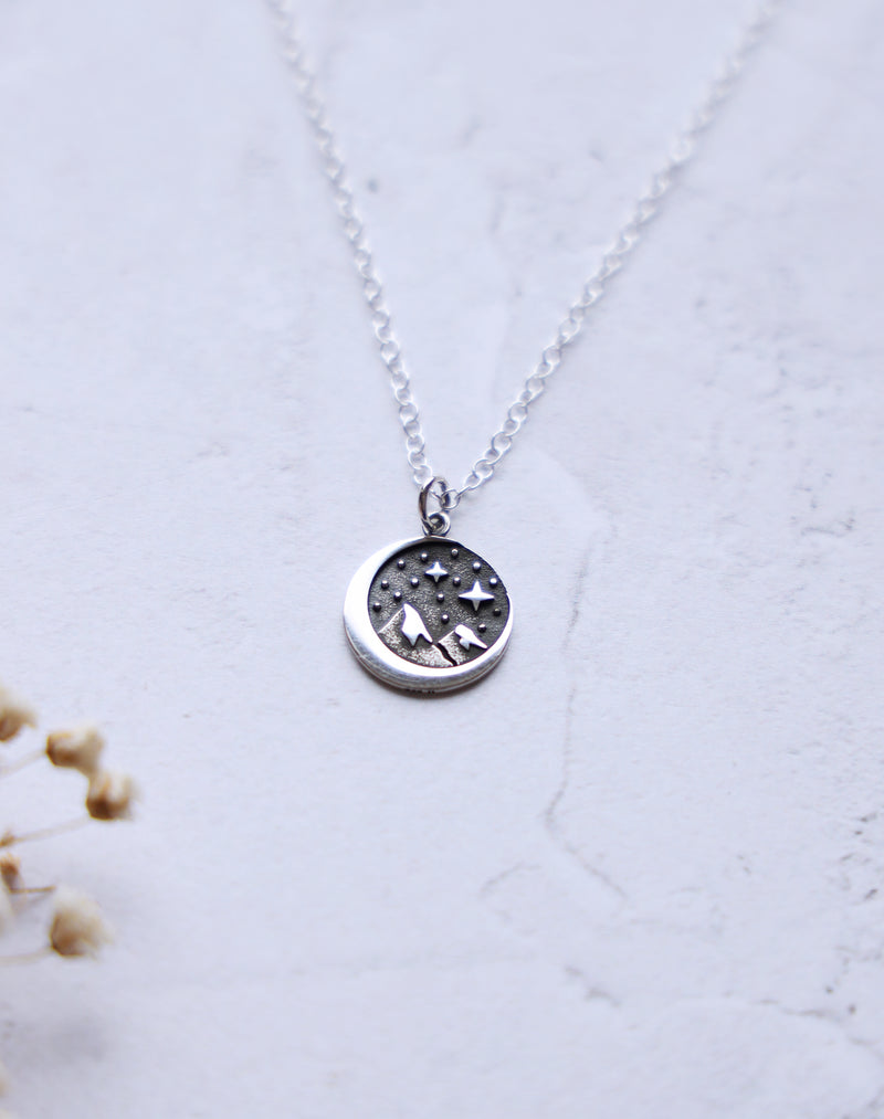 Pioneer Sterling Silver Moon and Mountains Necklace