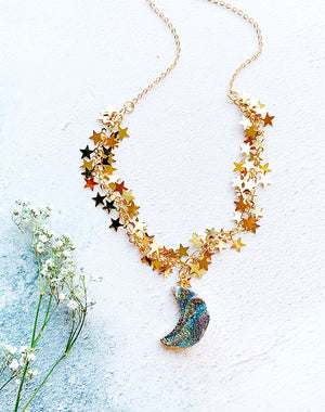 My Moon Druzy Quartz Moon And Stars Necklace