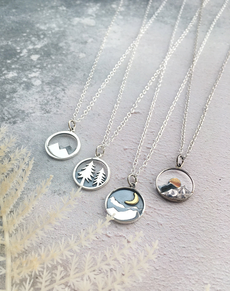Adventurer Mountain & Trees Sterling Silver Necklaces