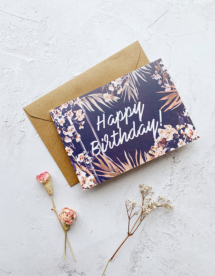 'Happy Birthday!' Nikki Strange Dark Palm Print Card