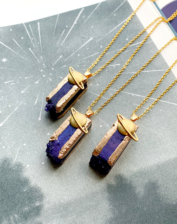 Obelisk Purple Quartz Saturn Necklace
