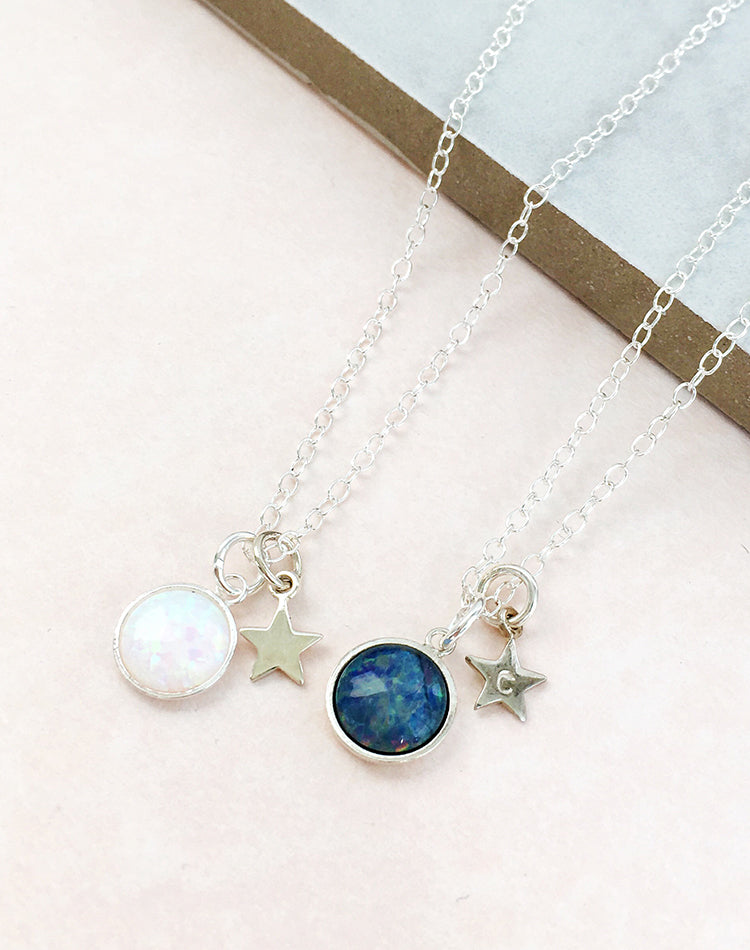 Octavia Personalised Sterling Silver Opal Necklace
