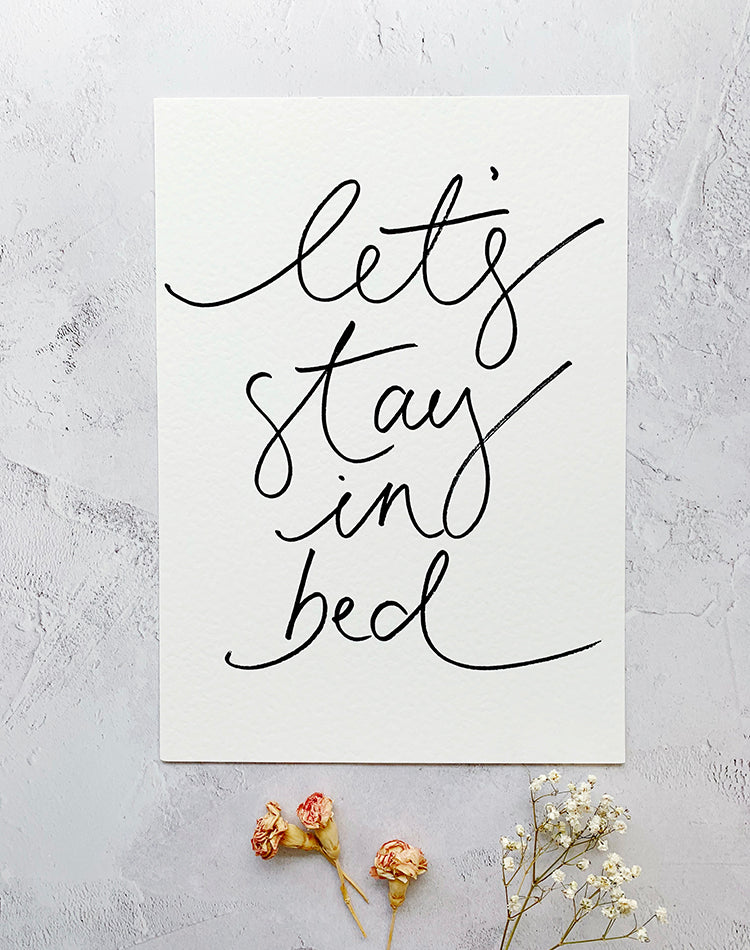 'Let's Stay In Bed' Art Print by Oh Squirrel