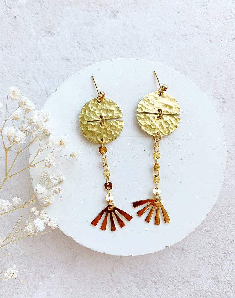 Oshma Geometric Sun Drop Earrings