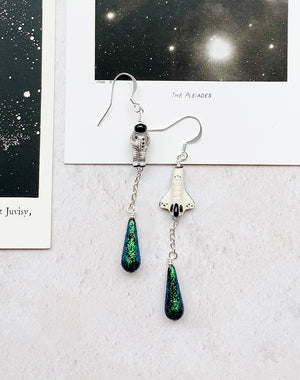 Out For A Walk Astronaut & Shuttle Earrings