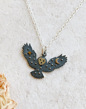 Nocturnal: Night Sky Owl Sterling Silver Necklace