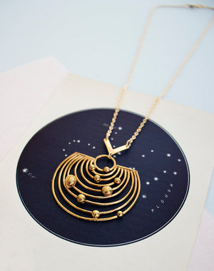 Pathways Brass or Silver Solar System Planets Necklace