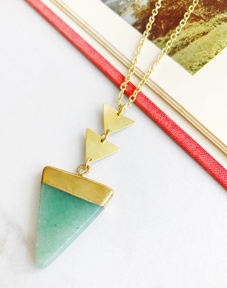 Peak Aventurine Triangle Necklace