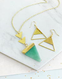 Peak Aventurine Triangle Necklace And Kailash Earring Gift Set