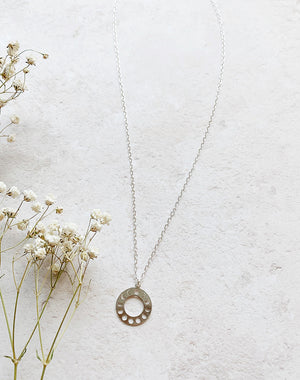 Phase - Moon Phase Sterling Silver Hoop Necklace