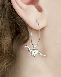Pitter Patter Apatosaurus Dinosaur Hoop Earrings