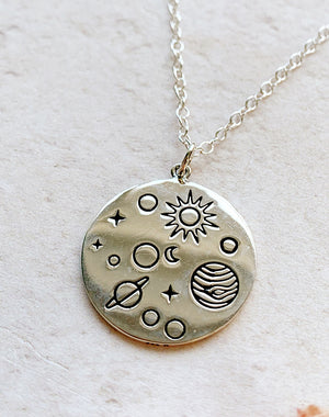 Planetarium Sterling Silver Solar System Disc Pendant