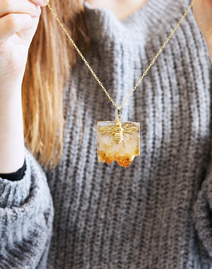 Queen Bee - Bee & Citrine Gemstone Necklace