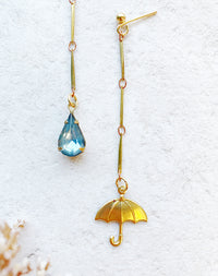 Rainy Day Asymmetric Umbrella & Rain Earrings
