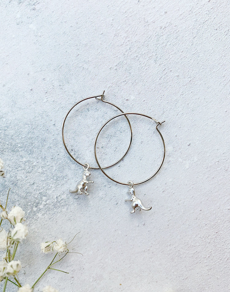 Rex Dinosaur Hoop Earrings