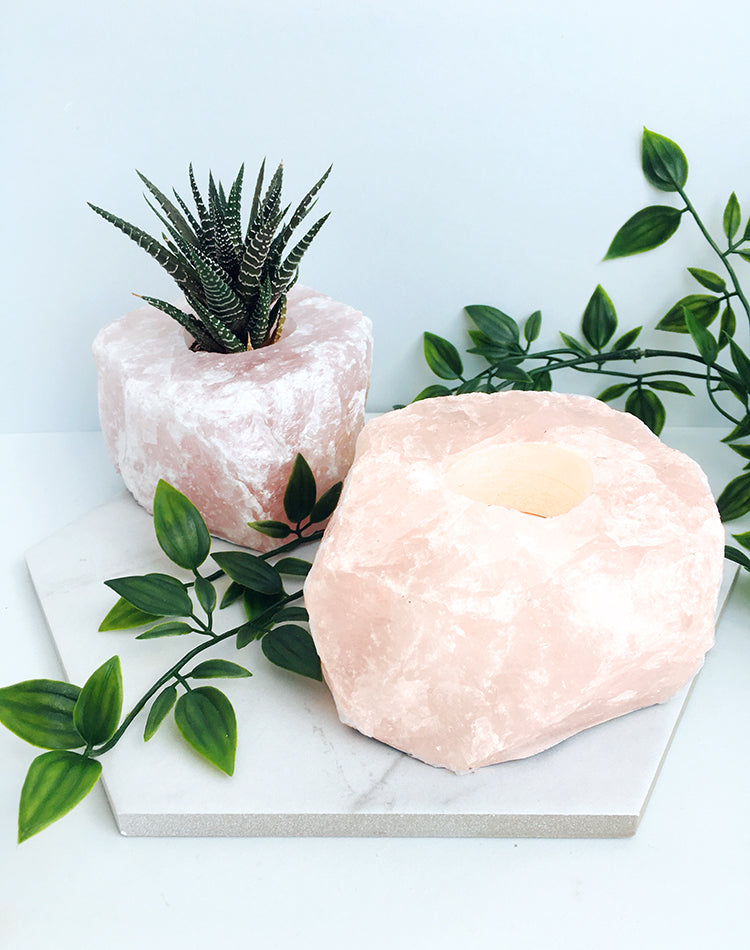 Rose Quartz Crystal Tealight Holder