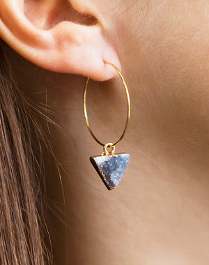 Sabre Druzy Triangle Hoop Earrings