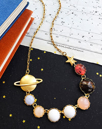 Give Me A Ring Sometime - Saturn System Gemstone Necklace