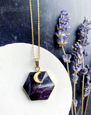 Saturn's Hexagon - Gemstone Necklace