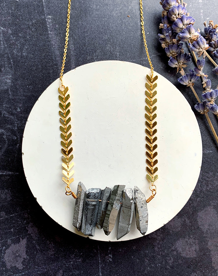 Shard- Titanium Quartz Necklace