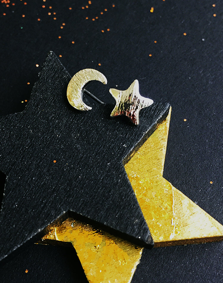 By Night Moon & Star Stud Earrings
