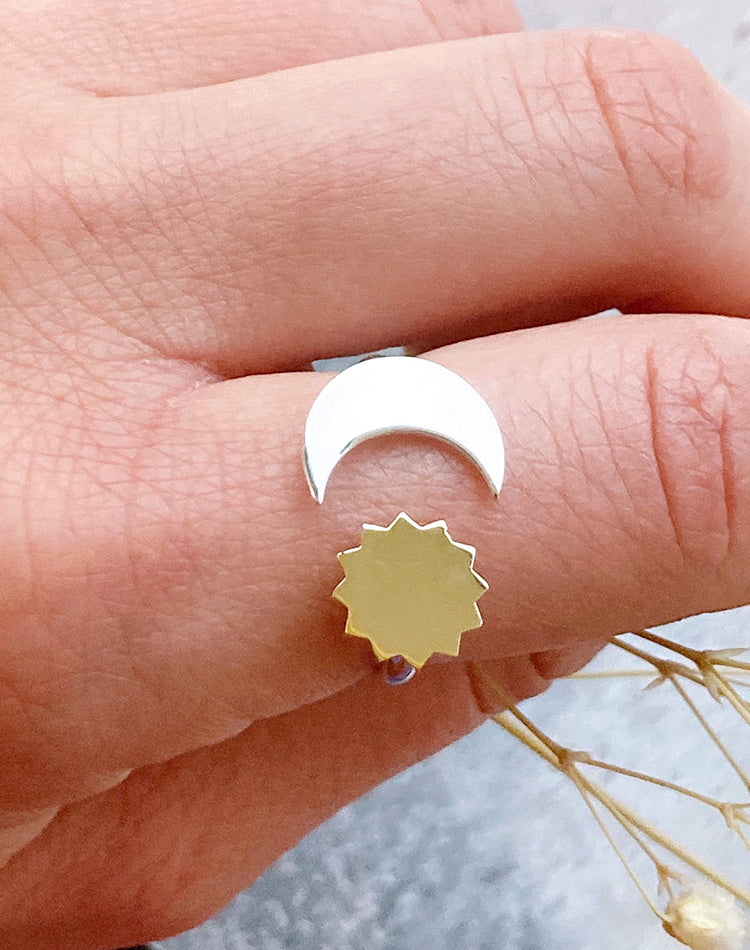 Sistere Sterling Silver & Bronze Adjustable Moon & Sun Ring