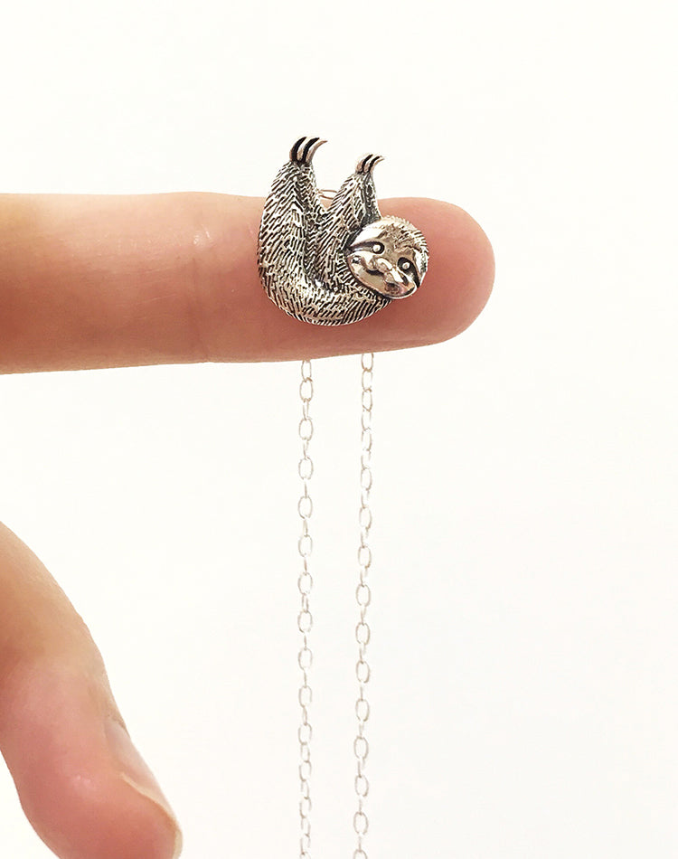 In Your Own Time Sterling Silver Sloth Necklace