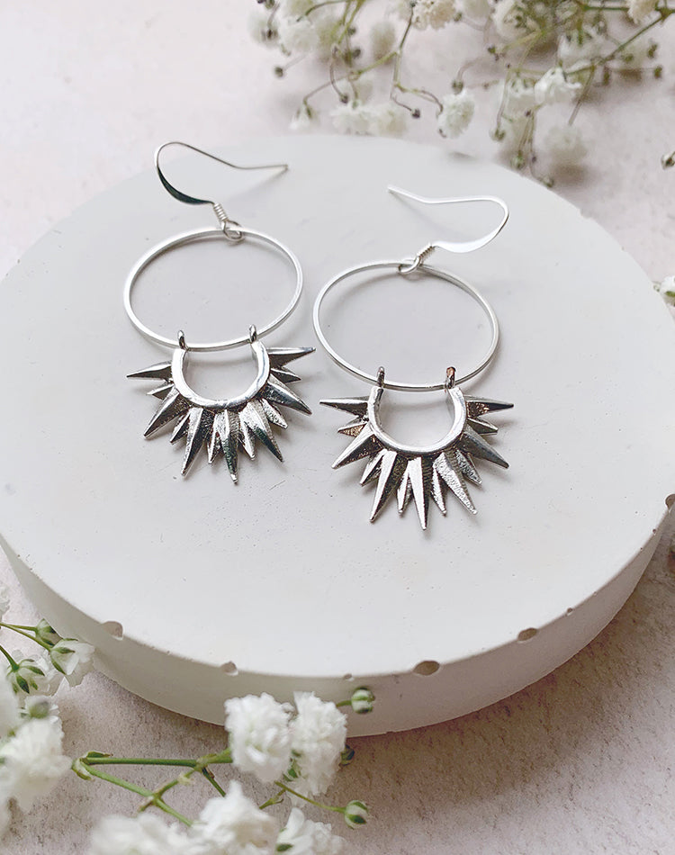 Soleil Silver Plated Geometric Earrings
