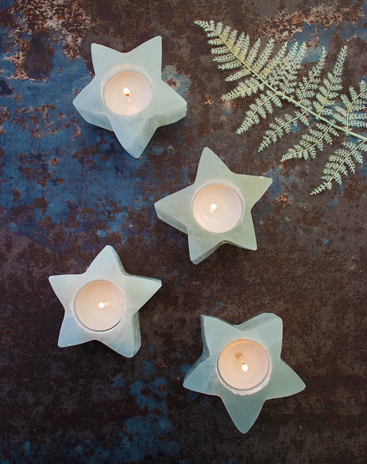Selenite Crystal Star Candle Holder