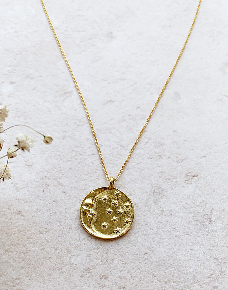 Stellar - Moon & Star Disc Pendant on Gold Fill or Sterling Silver Chain