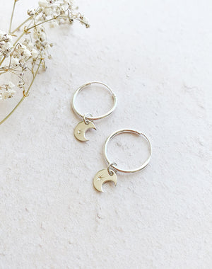 Token Sterling Silver Hoop Earrings