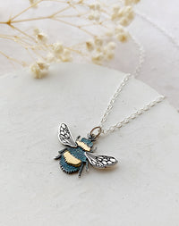 Honey Bee Sterling Silver & Bronze Bee Pendant