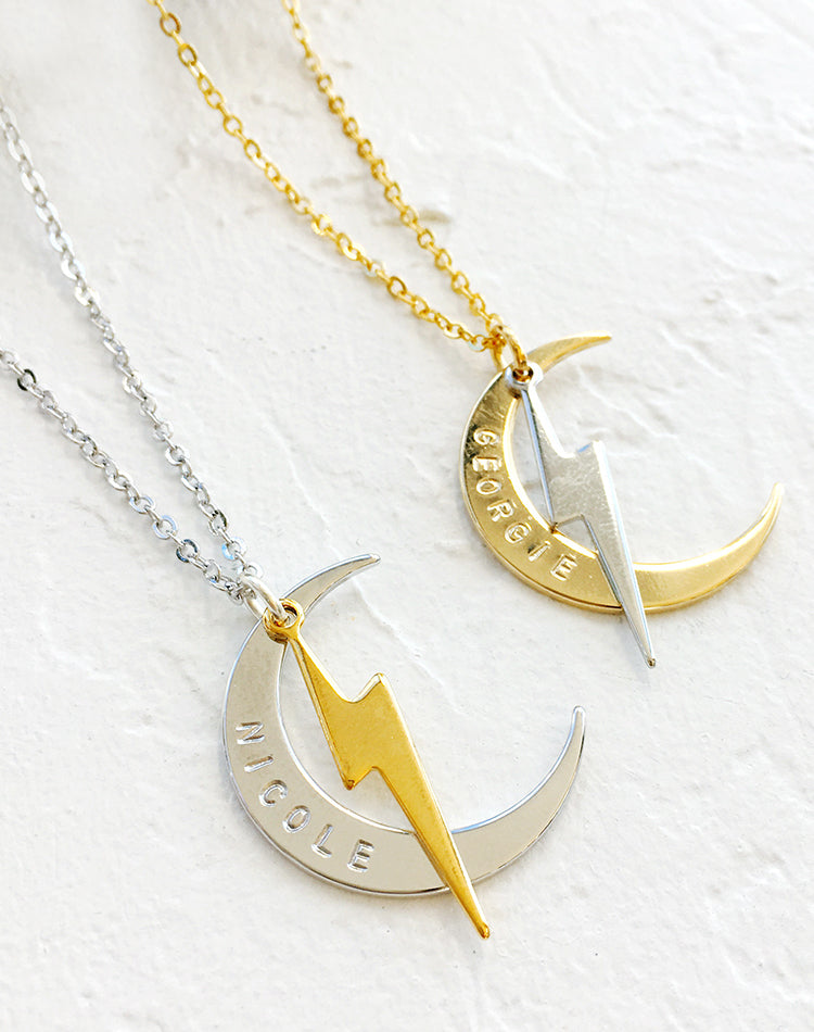 Stormy Nights Personalised Moon & Lightning Necklace