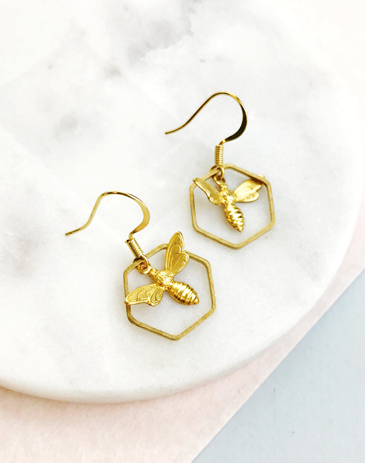 Such A Buzz Bee & Honeycomb Hexagon Earrings