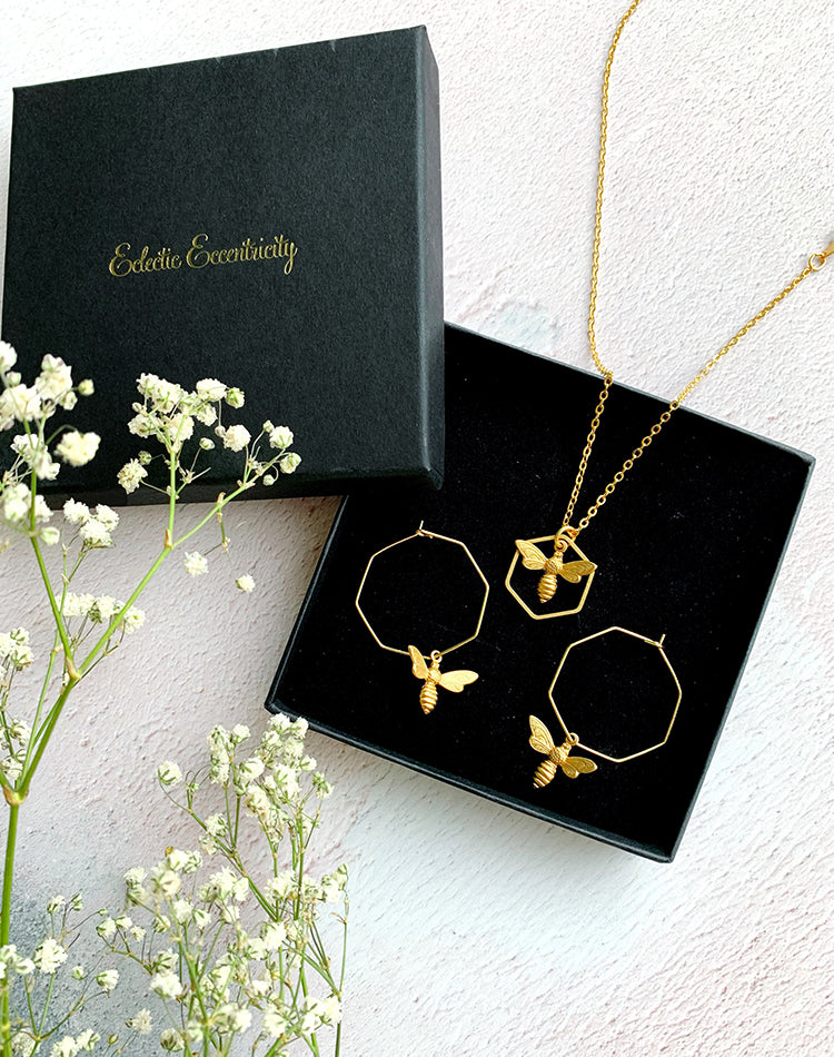 Such A Buzz Necklace And Best Beehive-iour Earrings Gift Set