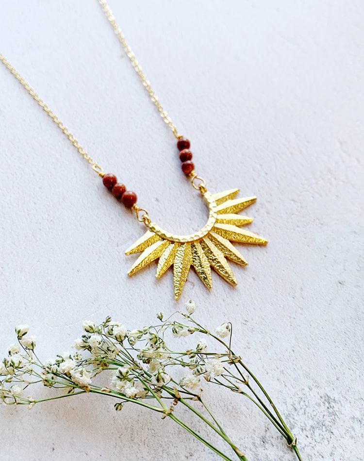 Sulis Gold Sun And Goldstone Necklace