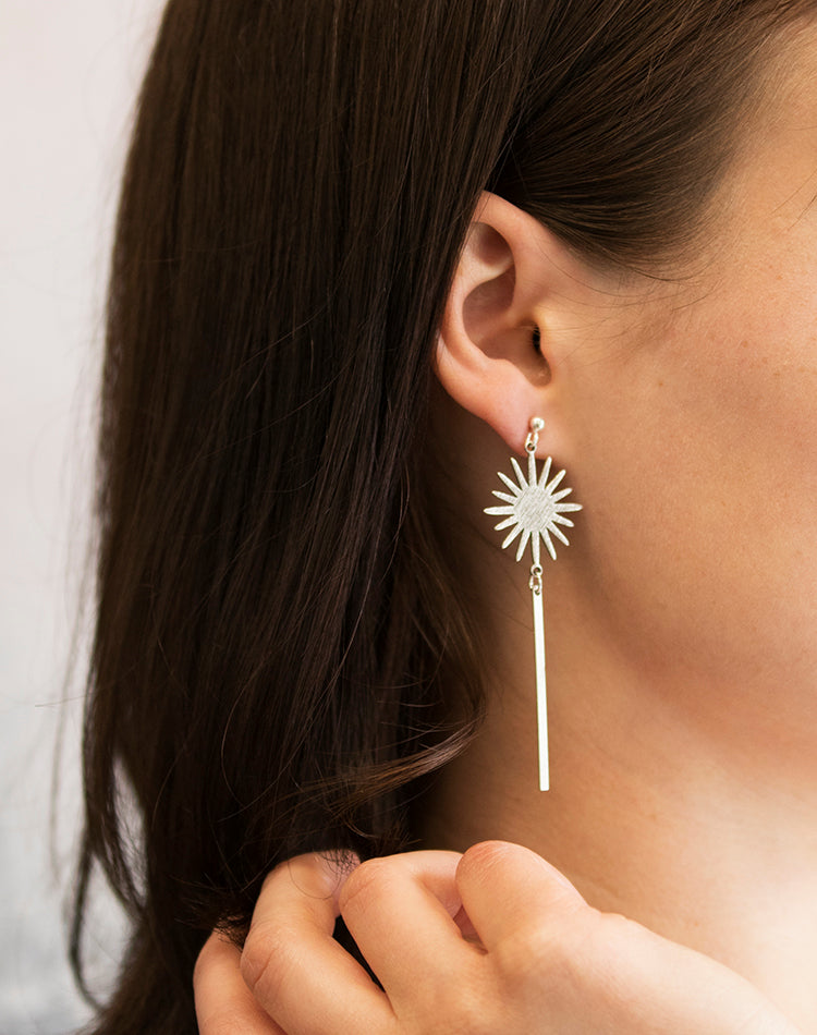 Surya Geometric Sun Earrings