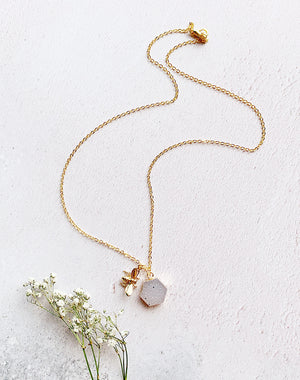 Swarmest Wishes Bee Honeycomb Quartz Druzy Necklace