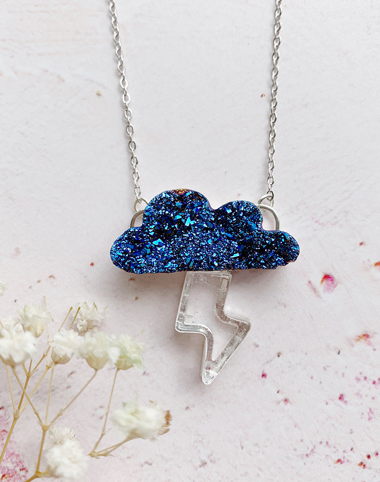 Take Charge Druzy Quartz Cloud & Lightning Storm Necklace