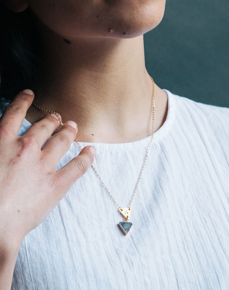 Terrene Double Triangle Druzy Necklace