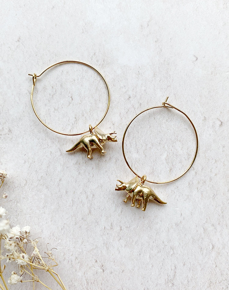 Tri Your Best Triceratops Hoop Earrings