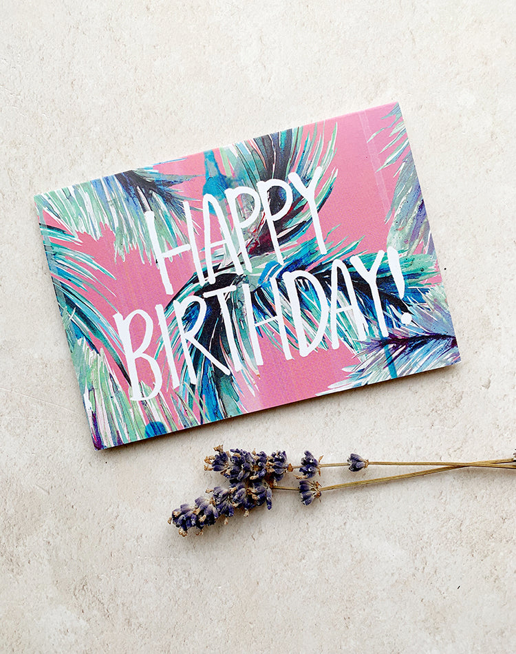 'Happy Birthday' Tropical Palm Print Greetings Card
